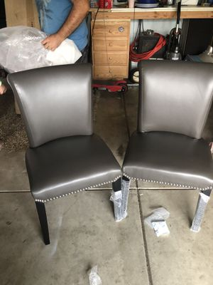 Set of two dining chairs accent chair NEW grey leather for Sale in Sacramento, CA