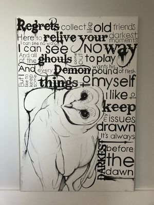 """24"""" x 36"""" art canvas Owl + Florence & The Machine quote for Sale in Nashville, TN"""