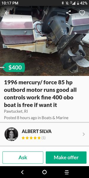 He put the boat 90 and now he's selling it 400 for Sale in Newfields, NH