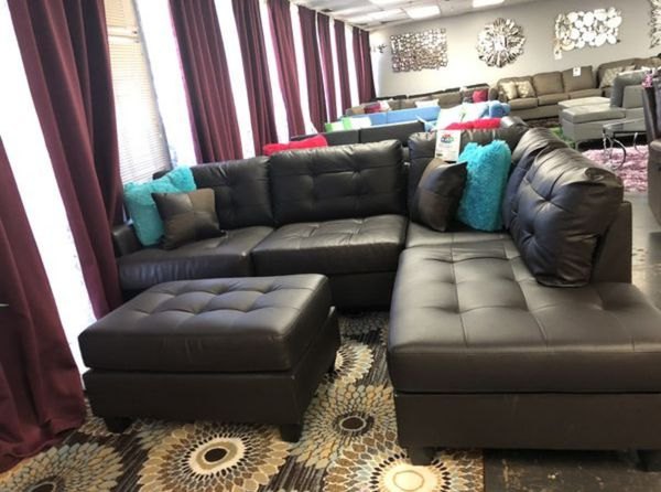 Brand New Espresso Faux Leather Sectional Sofa Couch + Ottoman