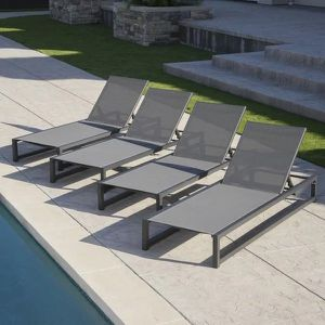 Outdoor Patio Furniture Set Of 4 Outdoor Aluminum Mesh Chaise Lounge Chairs for Sale in Newtown, CT