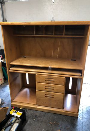 Solid oak computer desk armoire for Sale in Bothell, WA