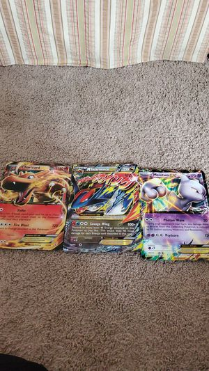 3 big pokemon cards Charzard EX,M Salamence EX,Mewtwo EX not ripped for Sale in Spring Hill, TN