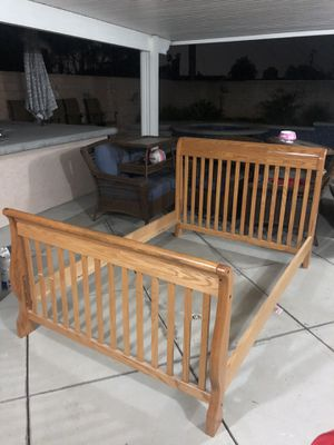 Full Size Bed Oak Frame ( comes with box spring and mattress if wanted ) for Sale in La Verne, CA