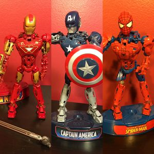 Mega Blocks Super Hero Action Figures - Constructible Figures - Ironman Captain America and Spiderman for Sale in Fort Lauderdale, FL
