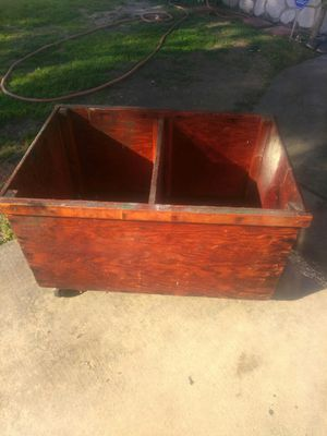 Vintage large solid wood box with wheels and removable divider for Sale in San Diego, CA