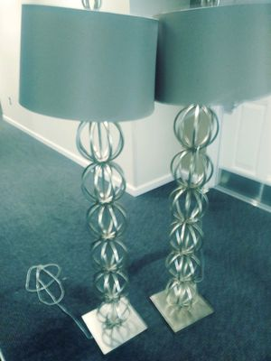 Brass floor lamps with grey shades for Sale in Fort Washington, MD