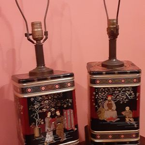 VINTAGE CHINESE TEA CANISTER TABLE LAMPS BY FREDRICK COOPER for Sale in Gastonia, NC