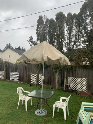 Patio Umbrella with chairs for Sale in Portland, OR