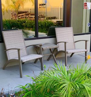 New in box 3 pcs steel large adirondack lounger porch chair and wicker outdoor patio furniture set with table weather resistant material light brown for Sale in Covina, CA