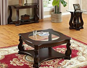 New Madison Brown Wood 3-Piece Coffee Table Set (1xCoffee 2xEnd) |4320 for Sale in LUTHVLE TIMON, MD