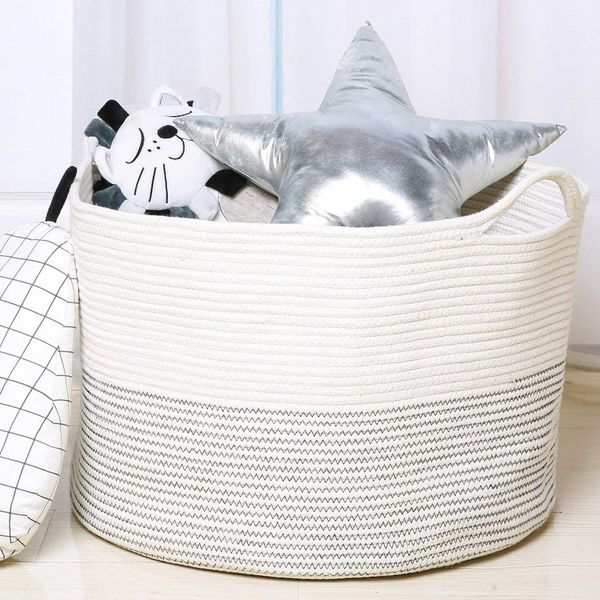 White Laundry Basket Hamper for Blankets Toys Storage with Handle