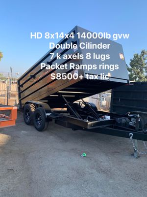 New Dump Trailer 8x14x4 14000lb gvw $8500 one available pickup for Sale in Long Beach, CA