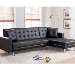 Brand New Black Faux Leather Pull Out Sofa for Sale in Pomona,  CA