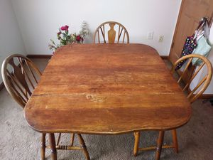 Wooden table three chairs for Sale in Detroit, MI