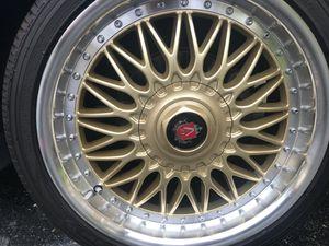 "18"" gold rims wheels tires axe yokohama 5x114.3 for Sale in Orlando, FL"