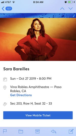 Sara Bareilles . 2 tickets to sold out concert. for Sale in Paso Robles, CA