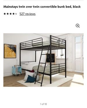 New twin over twin convertible bunk bed - black for Sale in Las Vegas, NV