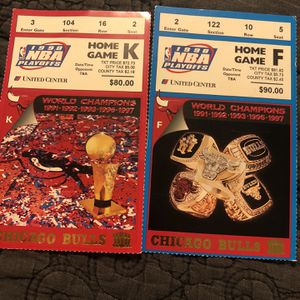 2 1998 Chicago Bulls Home Game Playoff Tickets for Sale in Barrington, IL