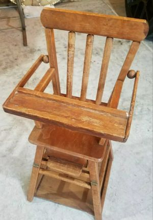VINTAGE 1950'S DOLL HIGH CHAIR / DESK. WOOD DOLL FURNITURE. 26H x 12W for Sale in Morton Grove, IL