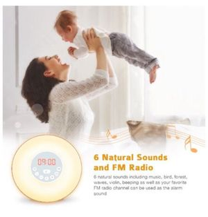 Coulax Wake Up Light Wood Sunrise Sunlight Alarm Clock with 6 Natural Sounds & FM Radio & Snooze Function and 7 Colors Bedside Lamp for Sale in Irvine, CA