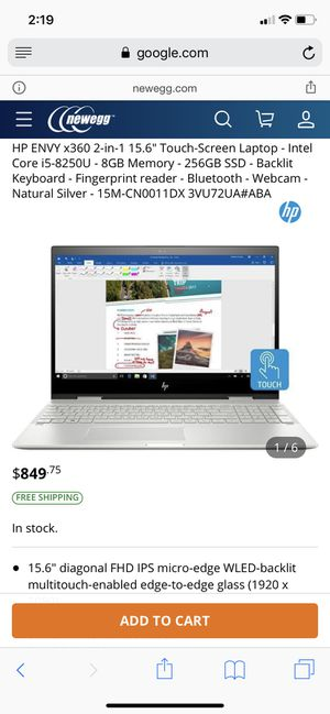 HP Envy x360 2-in-1 convertible touchscreen 15 inch laptop for Sale in Cerritos, CA