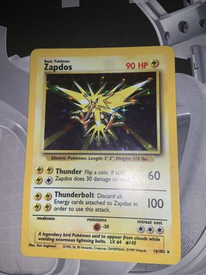 Zapdos Base 1 1999 16/102 Pokemon card Near mint for Sale in Westville, NJ