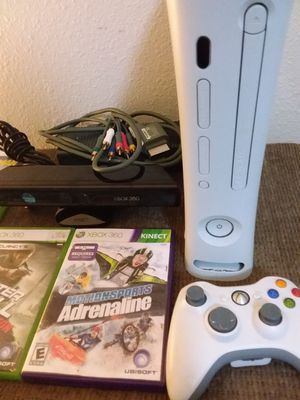 Xbox 360 with controller Kinect and 8 games Fallout Batman Splinter Cell for Sale in Portland, OR
