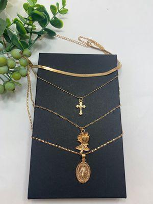 Vintage Rose Flower Cross Christian Portrait Long Pendant Necklace, Gold Color for Sale in Los Angeles, CA