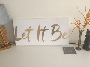 "Gold Foil Art Canvas with ""Let it Be"" Inspirational Quote for Sale in Washington, DC"