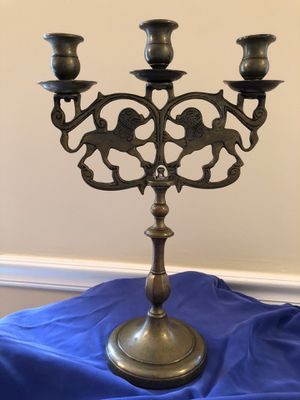 """Antique Solid Brass Candelabra Foo Dogs Chinese Guardian Lions Approx 10"""" wide, 15"""" tall for Sale in Northbrook, IL"""