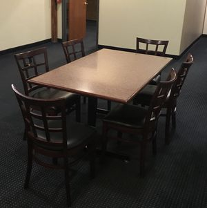 "Kitchen dining table with six chairs. Table Top is 60"" L x 36"" W x 30"" H for Sale in Wilkes-Barre, PA"
