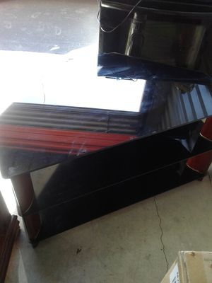 Cherry wood and glass tv stand for Sale in Tampa, FL