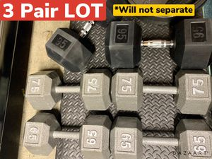 NEW Hex Dumbbells weights - 3 Pair LOT 65s 75s 95s (470lbs) - $2/lb for Sale in San Jose, CA