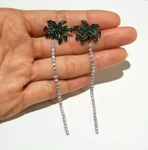Cz diamond palm earrings dangle silver for Sale in Austin, TX