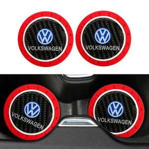 BRAND NEW 2PCS VOLKSWAGEN RED RUBBER CUP MAT WITH REAL CARBON FIBER EMBLEM for Sale in City of Industry, CA