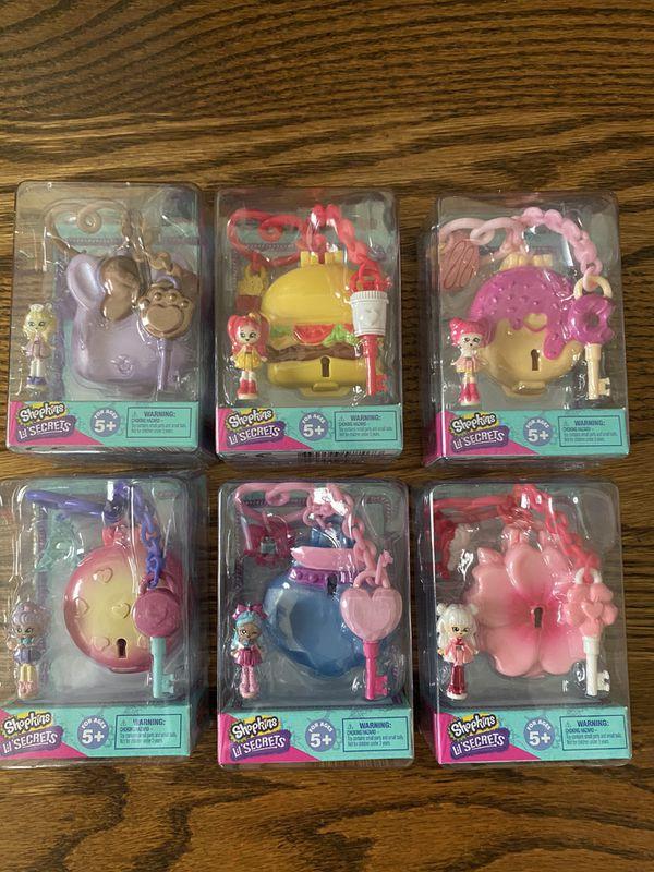 Complete Shopkins Lil Secrets Keychains Series 3 Mini Doll Locket Bag Tag lot of 6