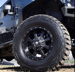"""17"""" WHEELS & TIRES PACKAGE ✅17x9 Trail Master TM220 Rims 6x139 or 6x135 Satin Black Offset -6. ✅ 17"""" Americus M/T Mud Terrai for Sale in La Habra Heights, CA"""