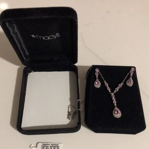 Macy's Sapphire Diamond Necklace and Earrings for Sale in Long Beach, CA