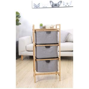 3-Drawer Bamboo Storage Shelf Sliding Detachable Rack Storage System with Laundry Hamper Cloth Fabric for Closet, Bedroom, Entryway for Sale in Ontario, CA
