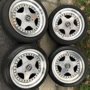 OZ Fittipaldi 5x120 (easy 4x100) 3-piece Wheels W/tires for Sale in Potomac, MD