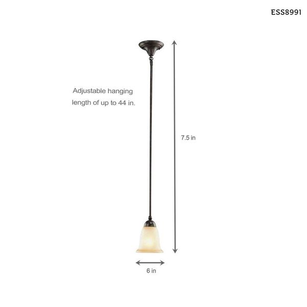 Commercial Electric 1-Light Rustic Iron Mini Pendant with Antique Ivory Glass