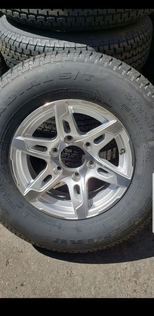 4 New Trailer Tires 225/75/15 inch tire 6 lug 6x5.5 Alloy Wheels/Rims ST-225-75-15 R15 inch Load E 10 ply 80psi for Sale in Moreno Valley, CA