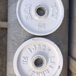 22 and 20 lbs Olympic weight plates for Sale in Carmichael, CA