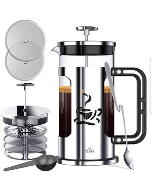 French Press Coffee Maker, 34oz Coffee and Tea Makers with 4 Level Filtration System for Sale in Arlington, TX