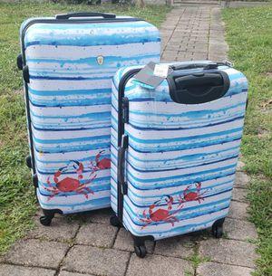 Rolite beach stripe 2 piece hard side spinner combination lock luggage set for Sale in Miami Gardens, FL