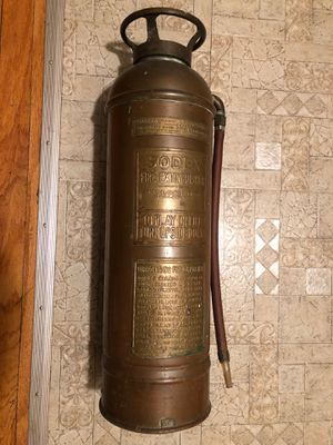 UPDATED Brass and copper fire extinguisher antique with bottle inside for Sale in Parma, OH