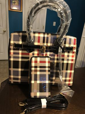 New Plaid Stylish Handbag and matching Wallet Set for Sale in Charlotte, NC