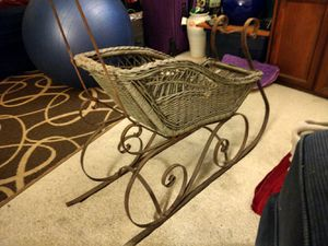 Wicker ard wrought iron doll child's sleigh sled for Sale in Seattle, WA