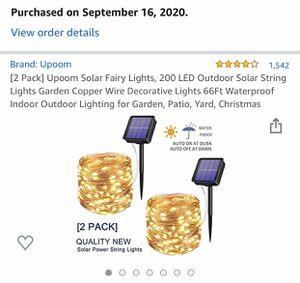 Solar string lights. 200*2 LED lights. 2*66ft long for Sale in Arlington, VA